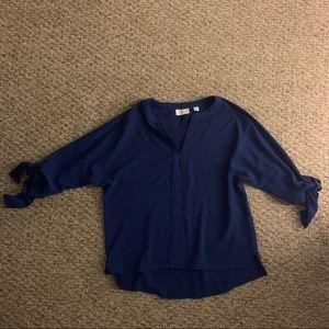 NEW YORK & COMPANY dark blue stretchy blouse